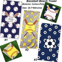 toalha de futebol grátis venda por atacado-Quadrado toalhas de beisebol novo design de moda de futebol softball toalha de praia esportes crianças crianças robes frete grátis