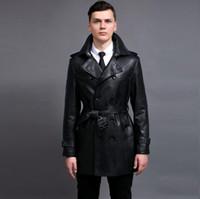 ingrosso giacche in pelle doppia a doppia mensola-Hot 2019 nuovi uomini nuova giacca in pelle da moto moda coreano cappotto trench per uomo primavera e autunno doppio petto giacca a vento mens S-6XL