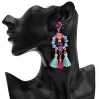 auger takı toptan satış-Yeni stil moda püskül küpe euramerican popüler sokak patted set burgu küpe kolye Kadınlar Takı Gif