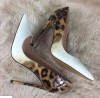 ingrosso leopardo stilettos-Tacco a spillo delle donne 8/10/12 centimetri Designer Rosso con la suola tacchi alti rivetti di leopardo ha le dita dei piedi scarpe da danza nozze pompa i sandali di stampa grandi