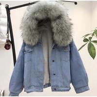 kadınlar için denim ceket yaka toptan satış-Kadınlar jean ceket Kış Kalın Jean Ceket Faux Kürk Yaka Polar Kapşonlu Denim Ceket Kadın Sıcak Denim Yıpratmak