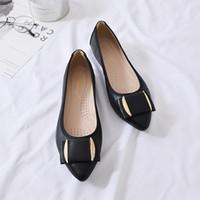 zapatos asakuchi al por mayor-Habilidad2019 Doug Bow Small Singles para mujeres Asakuchi Mom Shoe Square Will Code Flat Shoes