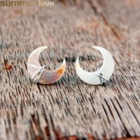Wholesale unique stud earring design resale online - Unique Design Crescent Moon Stud Earrings Mother of Pearl Gemstone Post in Gold Sterling Silver Handmade Wire Wrapped Ear Wedding Jewelry