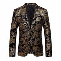 ingrosso blazer for dress-Abito da uomo Abito floreale con risvolto Risvolto Slim Fit Giacca elegante Blazer Coat Z10 # 530720