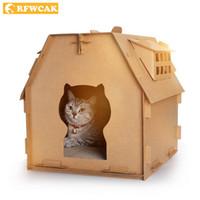 коробка для кошек оптовых-RFWCAK Corrugated Paper Pets Cat Scratch Board DIY Cat Houses Bed Mat Litter Box Kitten Carton Toys For Pet Products