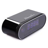 ip saatleri toptan satış-Toptan 1080 P wifi P2P masa saati IP kamera gece görüş çalar saat kamera canlı görünüm uzaktan monitör güvenlik kamera için ev