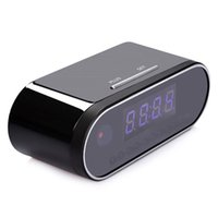 Wholesale night vision alarm clock cameras online - P wifi P2P table clock IP cam night vision alarm clock camera live view remote monitor security camera for home