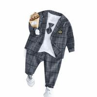 3db1c6f9b0e 2019 New Spring Baby Boys Clothing Male Children Suits Kid Gentleman Tie  Style Coats T Shirt Pants 3PCS Sets Grid Infant Clothes