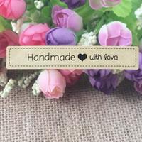 etiquetas etiquetas hechas a mano al por mayor-Etiqueta de etiqueta personalizada hecha a mano con amor para boda personalizada / regalo / ropa / pizarra Etiquetas de etiquetas de regalo de bricolaje