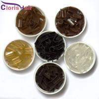 keratin yapıştırıcı ipuçları toptan satış-1000 adet Güçlü Tutun İtalyan Keratin Fusion Nail / U Ucu Yapıştırma Tutkal Granüller Boncuk Taneleri Ön-gümrüklü Saç Uzantıları için, 6 Renk Mevcuttur