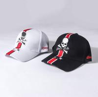 sombreros de cráneo negro al por mayor-Sombreros PP Verano Hombres Mujeres Negro Cráneo blanco Impreso Gorras Moda Plin Ball Caps