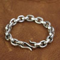 corchetes de anzuelo al por mayor-LINSION 925 broche de gancho de pescado de plata esterlina para hombre Biker Punk pulsera TA140