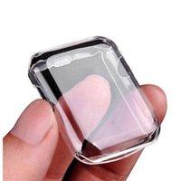 tpu anti şok ekran koruyucusu toptan satış-Ultra-İnce Apple İzle Vaka TPU Ekran Koruyucu All-Around Şeffaf iWatch için 38 MM 40 MM 42 MM Anti-Şok Durumda 44 MM