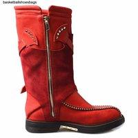 Wholesale streetwear shoes resale online - Buckle Cross Strap New British Shoes Rivet Genuine Leather Winter Casual Streetwear Shoes Block Low Heels Mid Calf Boots