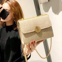 ingrosso mini sacchetti di lino-Borse per le donne 2019 Nuove borse di moda Borse di lino di alta qualità Mini borse a tracolla a catena Vacanze viaggio Crossbody Bag
