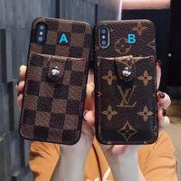 porte-cartes de visite iphone achat en gros de-Vintage de luxe cas de téléphone d'affaires de mode avec fente de carte de support de téléphone pour IPhone X XS Max XR 8 7 6 Plus Shell luxe Designer Back Cover