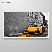 Wholesale new paint wall for sale - Group buy canvas painting Car picture sports car Lamborghini art poster livingroom wall decoration New calligraphy painting print