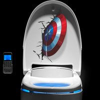 pvc de toilette murale achat en gros de-3D Vivid Captain America's Shield À travers des autocollants muraux Kids Room Toilet Decor Les Stickers Muraux Art PVC Mural Posters