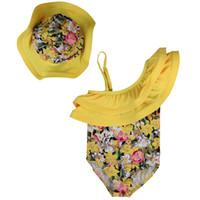 ingrosso swimwear giallo bikini-Baby Girl Swimsuit Bikini One Piece 2018 Summer Yellow Floral Stampato Costumi da bagno Jumper Tuta + Hat 2Pcs Outfit Bambini
