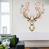 Wholesale acrylic plastic art pieces for sale - Group buy DIY Sika Deer Head Flowers Wall Stickers for Living Room Art Vinyl Wall Decals for Kids Baby Home Decor Adesivo De Parede