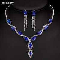 königliche blaue halskettenohrringe großhandel-BLIJERY Silber plattiert Royal Blue Kristall Hochzeit Schmuck-Sets für Frauen Blatt Troddel lange Halskette Ohrringe Brautschmuck Sets
