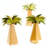 ingrosso decorazioni marrone-Coconut Tree Candy Box Matrimonio Compleanno Decorazione del partito Scatole di imballaggio Papery Brown Verde Gift regalo creativo 0 5blD1