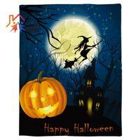 textiles para la casa al por mayor-Funkyhome Throw Blanket Halloween Eve Pumpkin Cartoon House Moon Impreso Fleece Blanket para camas Mantas textiles para el hogar