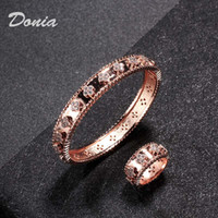 Wholesale stainless steel rings snake resale online - Donia jewelry party European and American fashion large classic flower micro inlaid Zirconia Bracelet Ring Set women s Bracelet Ring Set Gif