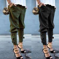 kadın pantolonları toptan satış-Katı Renk Tasarımcı Bayan Pantolon Orta Bel Bandaj Bayan Kalem Pantolon Zarif Streetwear Bayan Giyim