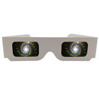 ingrosso carta bianca-200pcs Pack White Paper 3D Raves Prisma Diffraction Fuochi d'artificio Occhiali Spirali / 13500 Linee per spettacoli laser, RavesConcerts Club