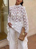 elegantes weißes langes kleid großhandel-Designer Frauen Spitze Aushöhlen Unregelmäßigen Maxi Sommerkleid Frauen Sexy Weiß Elegante Party Kleider 2019 Mode Frühling Langarm Mesh Kleid