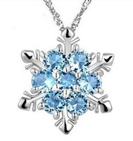 Wholesale frozen jewelry for sale - Fashion Jewelry Blue Crystal Snowflake Necklaces Frozen Flower Silver Necklace Pendants With Chain