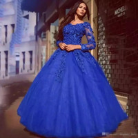 Wholesale water ball for sale - Cinderella Lace Quinceanera Dresses Royal Blue V neck Sweet Dress Prom Ball Gowns Floral Appliqued Long Sleeves Party Prom Gowns