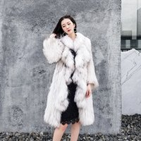Wholesale knit dog collar online - Cool Suit Fungus Lotus Leaf Lead Raccoon Wool Knitting Overlength Fund High end Temperament Leather And Fur Loose Coat Overcoat Suit dr