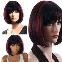 haarfarbe mischen großhandel-Frauen Kurze Bobo Glattes Haar Perücken Kunstfaser Mischfarbe Volle Perücke Partei Cosplay Perücke 2U81207