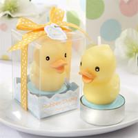 bebek duş ördek iyilikleri toptan satış-Küçük Sarı Ördek Mum Doğum Günü Partisi Bebek Duş Iyilik Yüz Gün Ziyafet Süsleyin Dolunay Bir Yaşında Küçük Hediye 2 6abE1