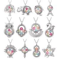 perlenkreuz anhänger großhandel-Silber Elefant Kreuz Eule Living Memory 8mm Perle Perlen Magnetglas Floating Medaillon Anhänger Halskette Perle Käfig Medaillon Charms