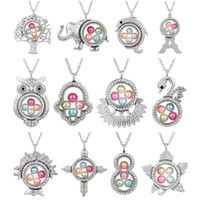 Wholesale floating glass charms resale online - Silver Elephant Cross Owl Living Memory mm Pearl Beads Magnetic Glass Floating Locket Pendant Necklace Pearl Cage Locket Charms