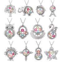 medallones de cristal de encanto flotante al por mayor-Silver Elephant Cross Owl Memoria viva 8 mm Granos de perlas Magnético de cristal Locket flotante Collar colgante Perla Jaula Locket encantos