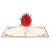ingrosso biglietti augurali di anniversario fatti a mano-Big Rose 3D Pop UP biglietti d'auguri Fantastic Flower Handmade Gift Card per San Valentino Anniversario di compleanno Invito Wedd