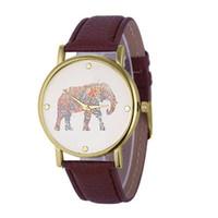 точные часы оптовых-Elephant pattern Quartz Watch leather strap Quartz Watch  Round Dial Precise Watches Exquisite Workmanship