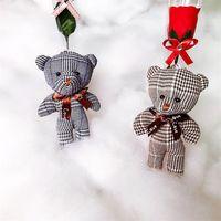 Wholesale toy bear clothes resale online - Multi Colors Little Bear Doll Plaid Cloth Without Flower Plush Toys Pendants Child Clothing Accessories Dolls Pendant bh L1