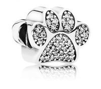 oso pata encanto de plata al por mayor-Se adapta a Pandora Pulseras 20 unids Pata de Oso Huella Charm Beads Silver Charms Bead For Wholesale Diy Collar Europeo Fabricación de joyas de Navidad