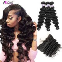 Wholesale 3pc hair weave for sale - Group buy Malaysian Indian Hair Extensions Yaki Straight Human Hair Bundles With Closure pc Loose Deep Wave With x4 Ear to Ear Lace Frontal Closure
