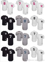 new york girl toptan satış-2019 özel NY New York erkek kadın gençlik Majestic Yankees Jersey # 8 Yogi Berra 7 Mickey Mantle 5 Joe DiMaggio ev kızlar Beyzbol Jers