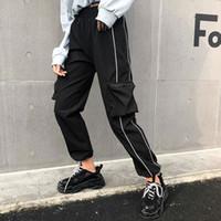 pantalones jogger coreano al por mayor-Harajuku Pantalones de carga negros ocasionales Rayas de mujer Pantalones elásticos de cintura alta Pantalones de tirantes estilo corris Pantalones joggers coreanos