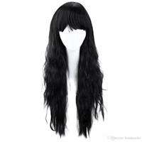 ingrosso lunga parrucca nera halloween-Parrucca piena di capelli lunghi ricci resistenti al calore parrucca nera naturale parrucca di capelli sintetici resistente al calore parrucca di cosplay del partito di Halloween