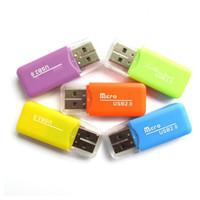 lectores de tarjetas al por mayor-500 unids / lote nueva llegada en forma de silbato USB 2.0 T-flash lector de tarjetas de memoria TF tarjeta lector de tarjetas Micro SD