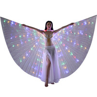 alas de desgaste al por mayor-LED Isis Wings - Belly Dance LED Light up Wings Performance Costume Party Club Wear Accesorios de baile LED Butterfly Wings With Stick