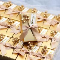 süßigkeiten geschenke diy großhandel-50 Stück Hochzeit Gefälligkeiten Rosa Goldene Einzigartige DIY Perle Blume Platz Papier Candy Box Verpackung Geschenkboxen Für Gast Kostenloser Versand Party Supply
